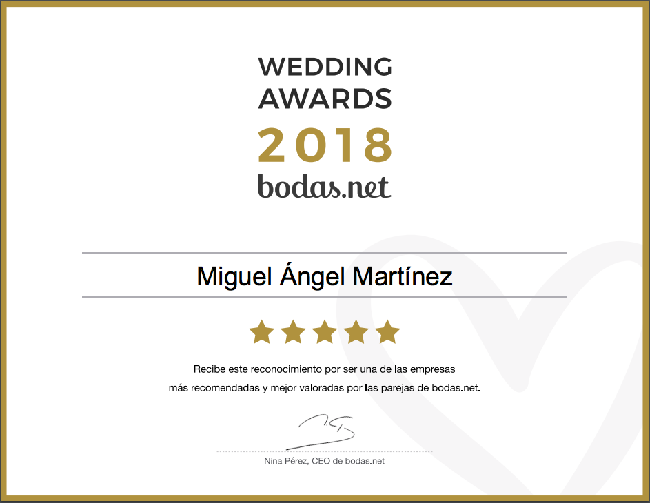 Miguel Ángel Martínez, ganador Wedding Awards 2018 Bodas.net
