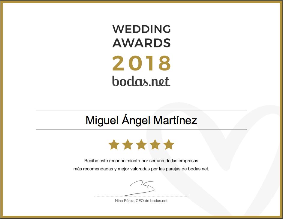 Miguel Ángel Martínez, ganador Wedding Awards 2018 Bodas.net